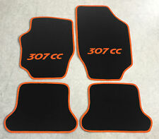 Autoteppiche Fußmatten für Peugeot 307cc Cabrio schwarz orange 2003-08 4tlg Neu