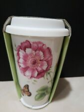 Lenox Butterfly Meadow Blue Thermal Coffee Mug Cup, White 837583 New