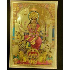 Mata Durga Kali Goddess Picture Yant Gold Plate Hindu Deity Thai Amulet Size A4