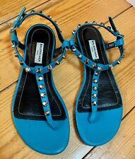 Balenciaga Blue Leather Studded Sandals Size 7
