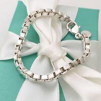 "Medium 7.5"" Tiffany & Co Sterling Silver Venetian Box Link Bracelet"