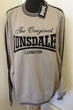 Retro Lonsdale Sweatshirt Jumper Fleece Top Grey & Black Sully UK Large 113146