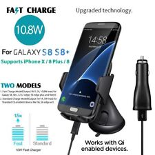 New Qi Wireless 10W Fast Charger Car Windscreen Mount Stand Samsung iPhone 8 X