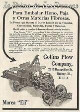 W3733 La Reina de Las Prensas para Embalar Heno - Collins Plow- Pubblicità 1913