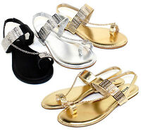 Ambra-77 Fashion Blink Chain Stone Flat Cute Sandals Gladiator Party Women Shoes