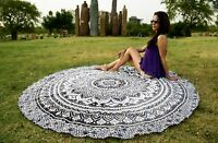 Black & White Round Mandala Tapestry Indian Wall Hanging Cotton Yoga Beach Throw
