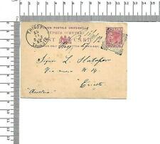 Postal stationery UK Cyprus one piastre 1882 Larnaca - Trieste Austria ; 60462