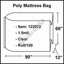 """1.5 mil Poly X-Queen Mattress Bag 60""""x12""""x90"""" Roll/100 (122972)"""