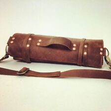 100% Genuine Leather Knife Roll Chef's Bag 10 pockets