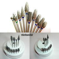 10pcs Dental Lab Titanium Nitrate Carbide Burs Polishers + 1 HP Round Burs Block