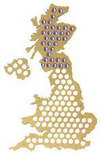 Beer Cap Traps XL Map of United Kingdom Bottle Beer Pop Wood Caps Organizer