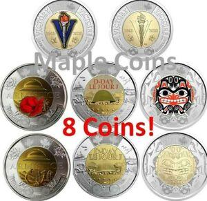 8 Canada coins: 2020 Bill Reid + WWII, 2019 D-Day, 2018 Armistice Color+No-Color