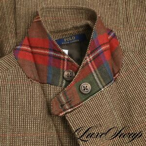 RECENT Polo Ralph Lauren 45% Silk Brown Slubby Tick Weave Tartan Trim Jacket 40