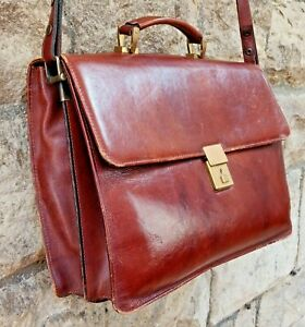 Unused Vintage RARE Top Quality Leather Satchel/Briefcase 3bags Finland