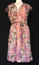 ILE New York Women's Pink Floral V Neck Sleeveless Belted Lined A Line Dress 16