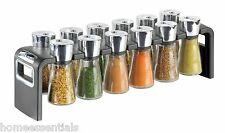 Cole & Mason Herb & Spice Rack 12 Jar Chrome Glass Silver Spices Included