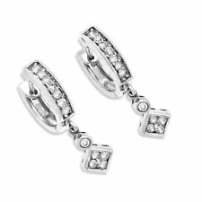 0.50ctw ROUND DIAMOND HUGGIES DANGLING EARRINGS 14k WG