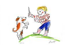 Emanuele Luzzati  - AMICI - cane giochi - luzzati museum archivio opere
