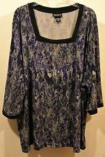 """3X 4X Maggie Barnes Catherines womens top blouse bust 62"""" L29"""" H 62"""" stretchy"""