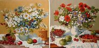 SET OF 2 X 46CM VASE A FLEURS  BELGIAN TAPESTRY CUSHION COVERS + ZIP A4053/A4056