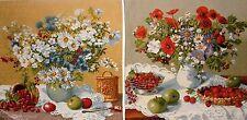 Set di 2 x 46cm VASO un Fleurs BELGA Arazzo Cuscino Copre + Cerniera a4053/a4056