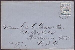TURKS & CAICOS 1907 2½d Ship on cover to USA -  TURKS ISLAND cds...........35243