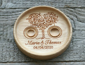 Personalized Wedding ring pillow alternative, Wood Wedding ring holder bearer