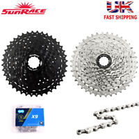 SunRace 9 Speed 11-40T MTB Bike Cassette & Chain 9S Freewheel fit Shimano SRAM