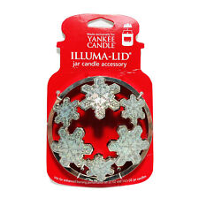 Yankee Candle Illuma-Lid Silver Metal Jar Topper Glitter Snowflake Christmas NWT