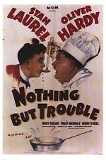NOTHING BUT TROUBLE ~ TASTE 26x38 MOVIE POSTER Stan Laurel & Oliver Hardy Chef