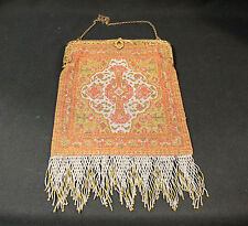 Antique Beaded Purse Micro Beads Coral Gold Metallic Chain Strap Fringed Silver