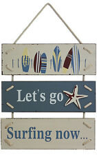 Lets Go Surfing Now Wooden Sign | Coastal Beach Wall Decor 47cm Big