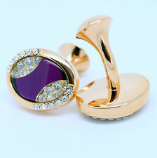 Rose Gold Coloured and Purple Oval Cufflinks with Stones