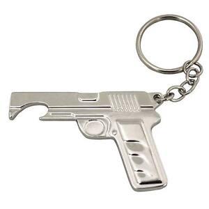 Gun Bottle Opener Keychain Silver
