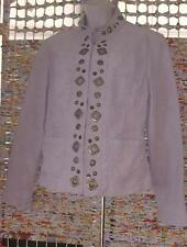 Prosper & Devine Beige Tan Embellished Brassy Leather Jacket Blazer Medium Bling