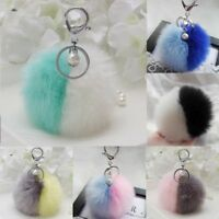 Keychain Fluffy Ball Faux Rabbit Fur Car Decoration Pendant Handbag Charm