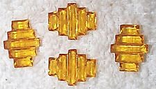 VINTAGE 1930'S EXTRAORDINARY CUT AND BEVELED AMBER GLASS ART DECO JEWELS 8 PCS