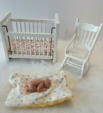 Miniature Nursery Furniture Crib Rocker with Baby and blanket
