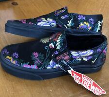 Women's Vans Sneakers Slip-Ons Festival Pack Satin Floral Black Size 5.5 NEW