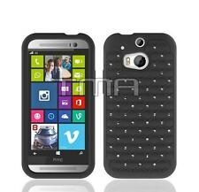 Rhinestone Diamond Bling Cute Hybrid Impact Case Cover For HTC One 2 M8 - Black
