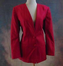 Pendleton Women's Vintage Raspberry Collarless Wool 2-Button Lined Blazer Sz 10