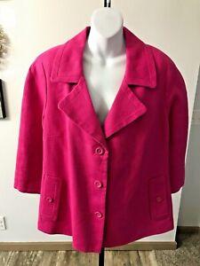 Talbot's Woman Pink Linen 3/4 Sleeve Swing Blazer - 18