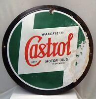 CASTROL MOTOR OIL WAKEFIELD ADVERTISING SIGN VINTAGE PORCELAIN ENAMEL COLLECTIBL