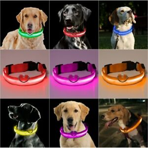LED Flashing Luminous Dog Pet Collar with Battery Safety Night Light Up Collar