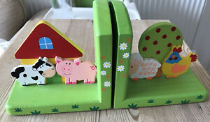 Wooden Childrens Kids Baby Nursery Bookends Farm Yard Animals
