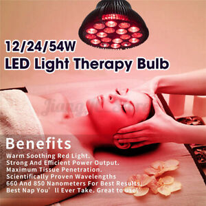 2IN1 54W Red Heat Light LED Infrared Lamp Bulb Health Pain Relief Anti