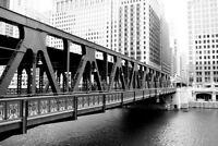 Wells Street Bridge Over Chicago River Black and White Photo Art Print Poster 18