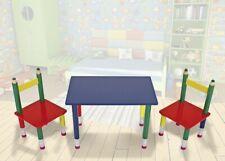 Kindersitzgruppe Bleistift Kinderzimmer Kindertisch Kinderstuhl bunt massiv Holz