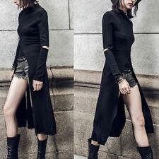 Women Casual Tops Turtleneck Hoodie Gothic Irregular Hem Party Evening Dress New