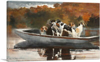 Hunting Dogs in Boat - Waiting for the Start Canvas Art Print Winslow Homer